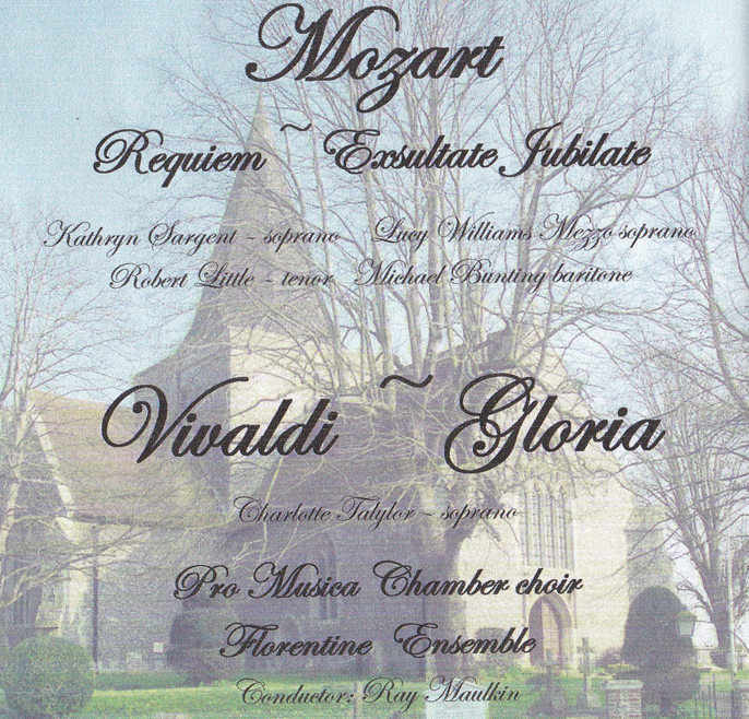 Promusica CD cover Mozart Requiem and Vivialdi Gloria 2012